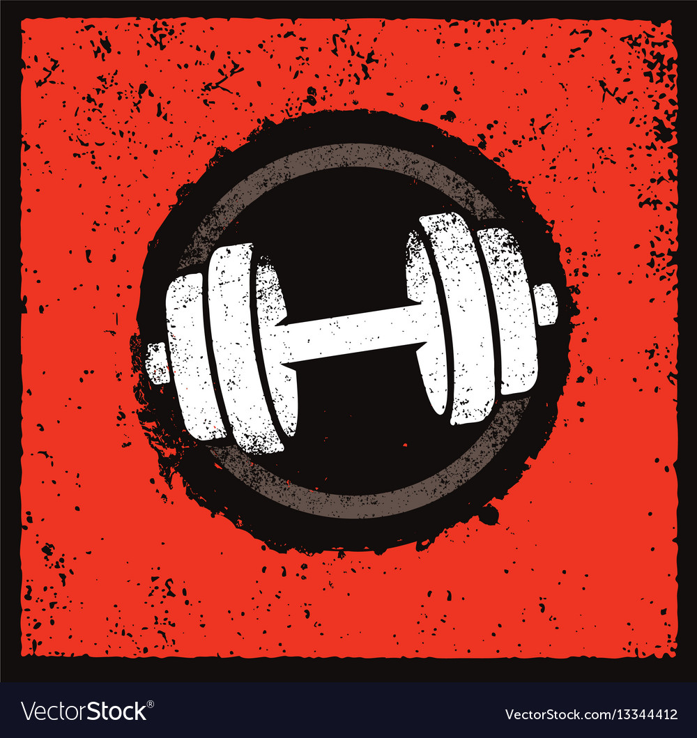 Grunge dumbbell icon on rough distressed vector image