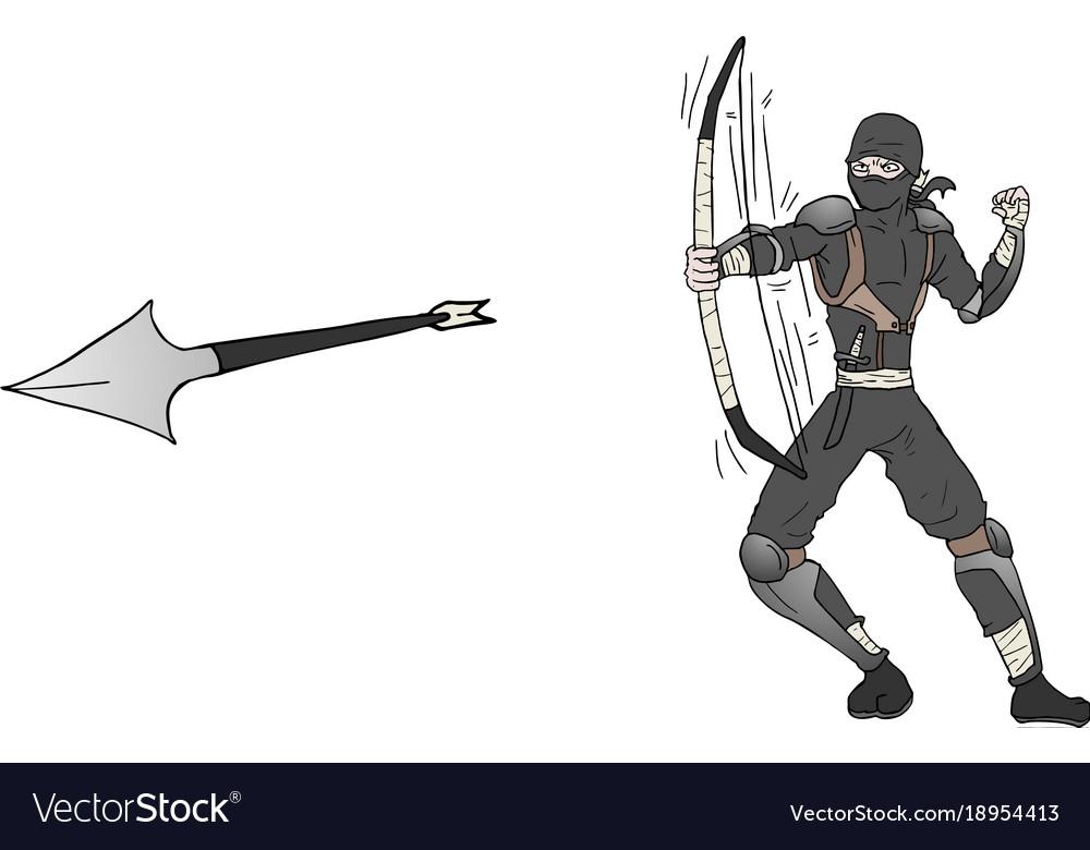 Arrow ninja attack vector image