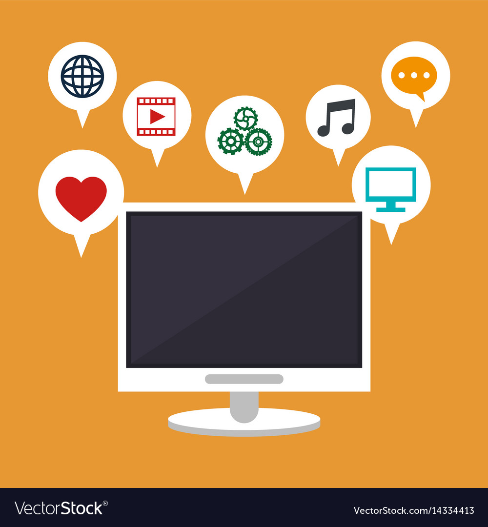Computer technology social media apps vector image