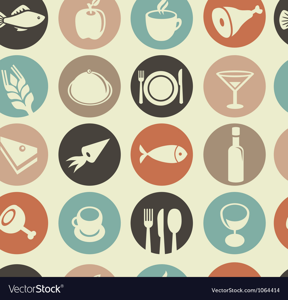 Seamless pattern with restaurant and food i vector image