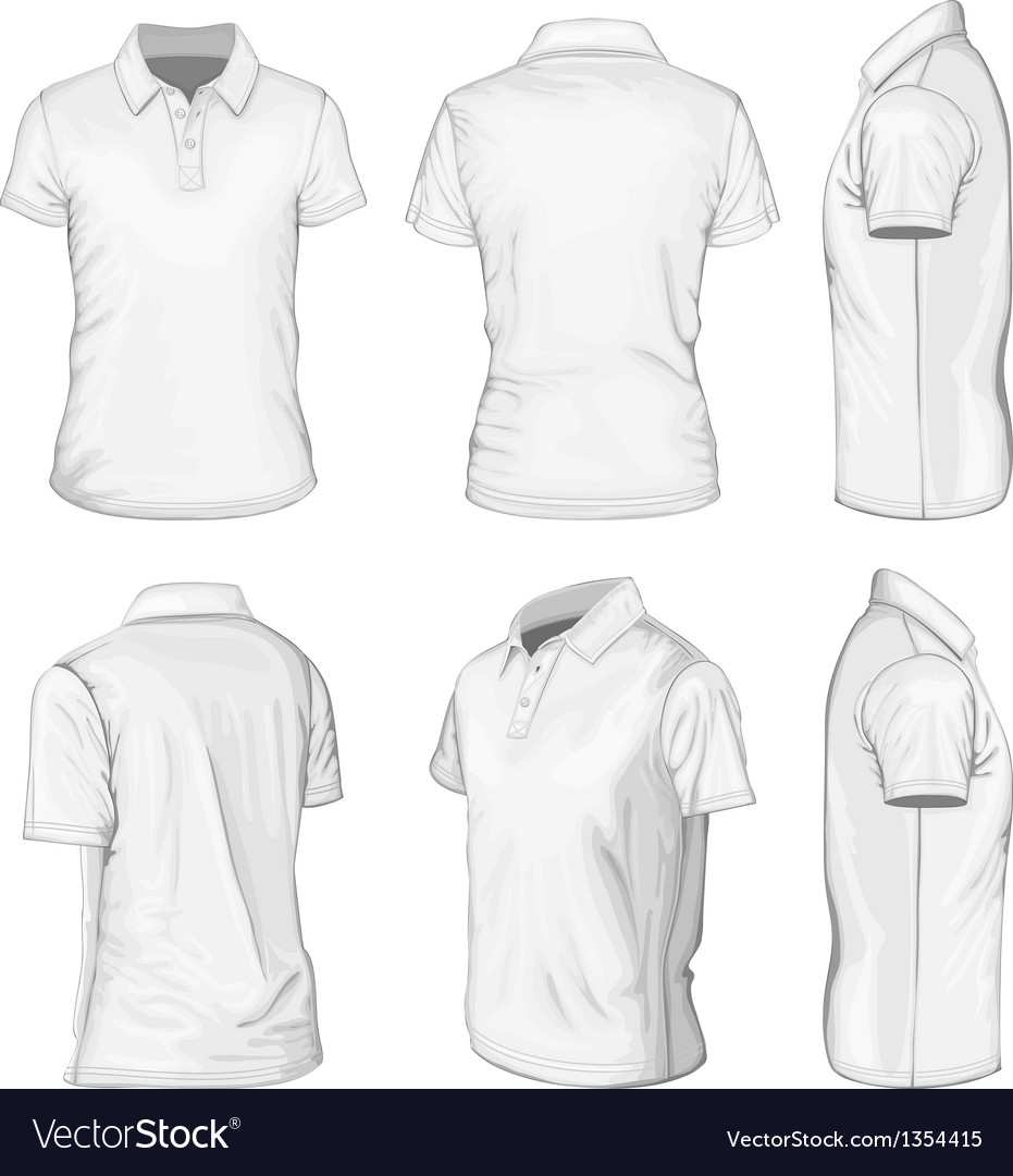 Mens white short sleeve polo-shirt vector image