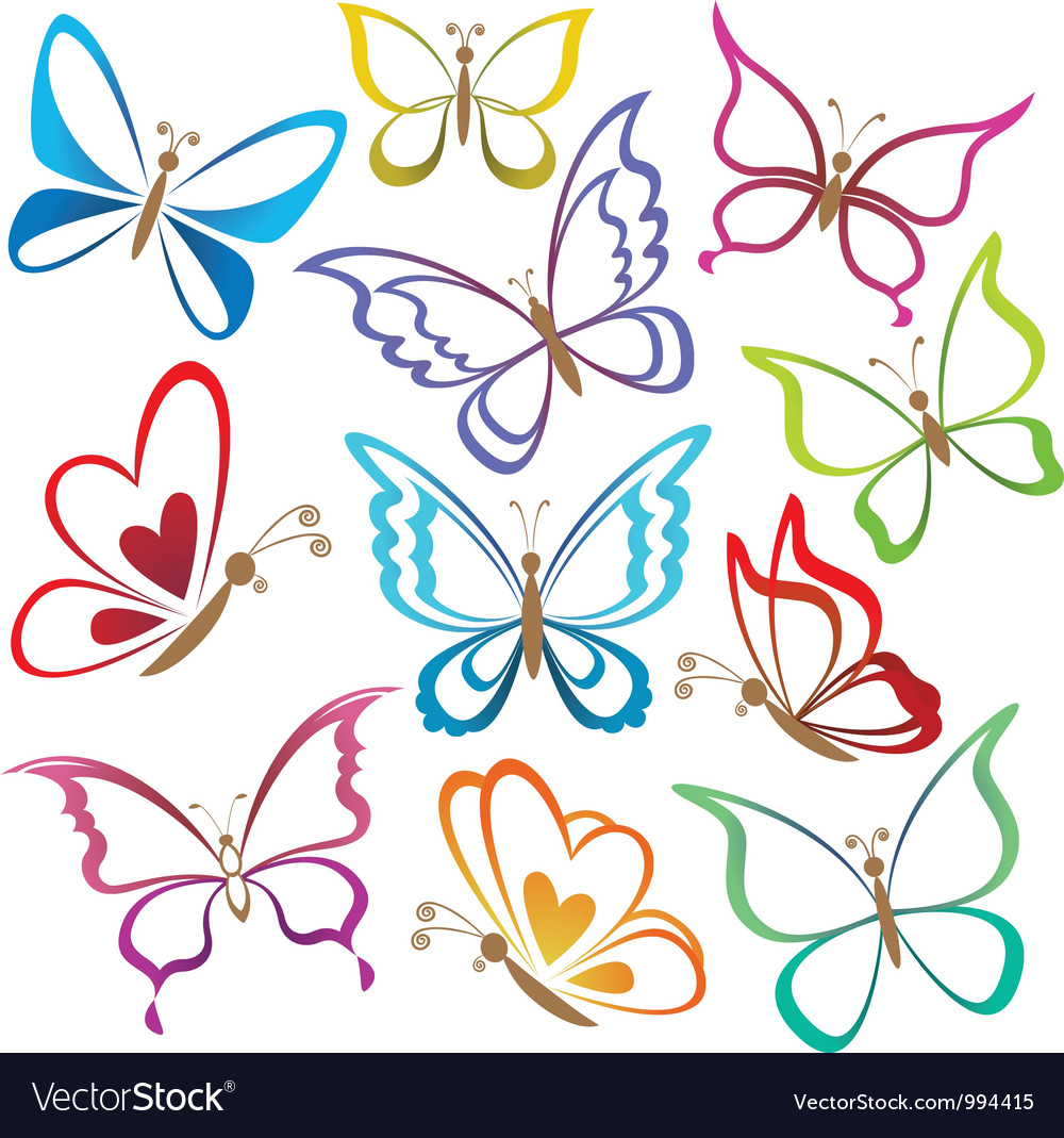 set abstract butterflies royalty free vector image