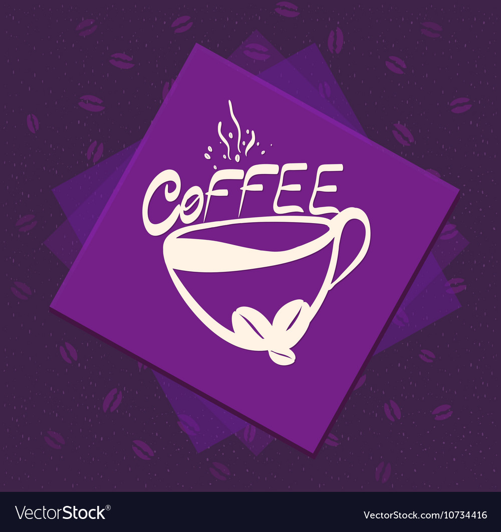 Morning cup of coffee on Color background Vintage vector image