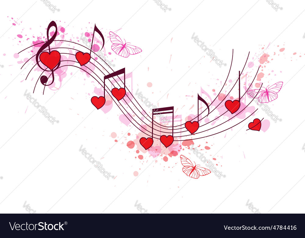 Romantic music background vector image