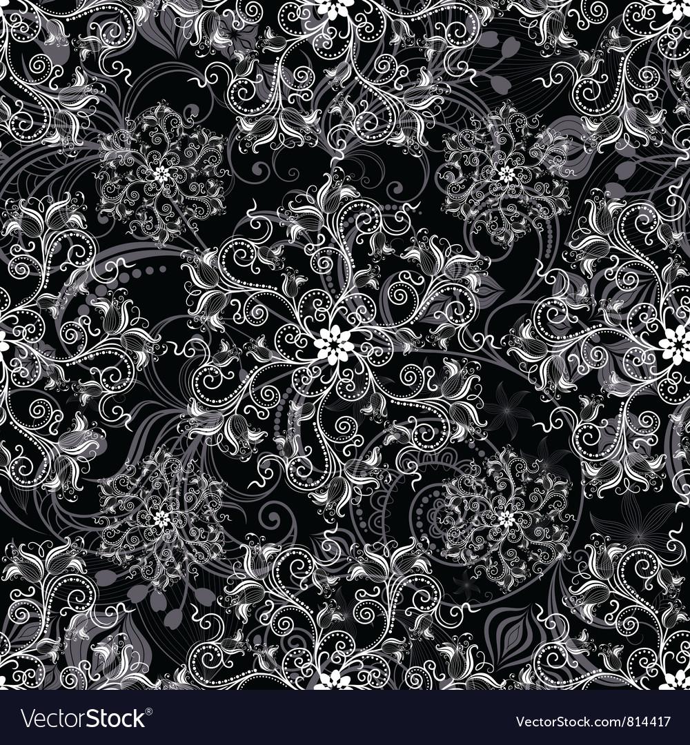 Black seamless mandala Vector Image