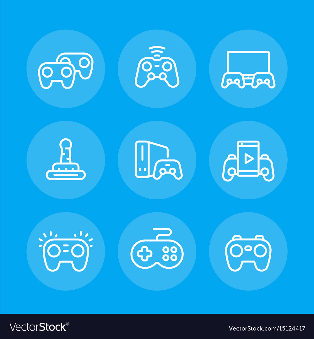 Gamepads line icons set vector image