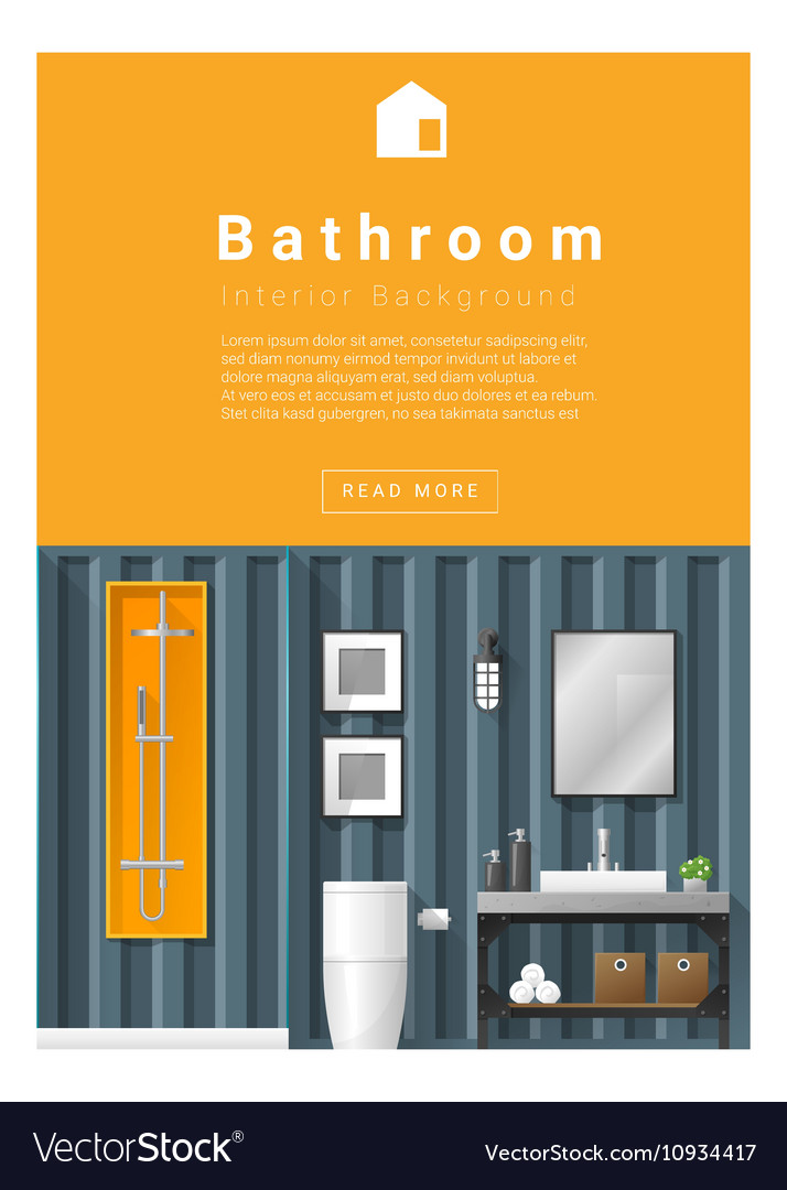 Interior Design Modern Bathroom Banner 6 Vector Image