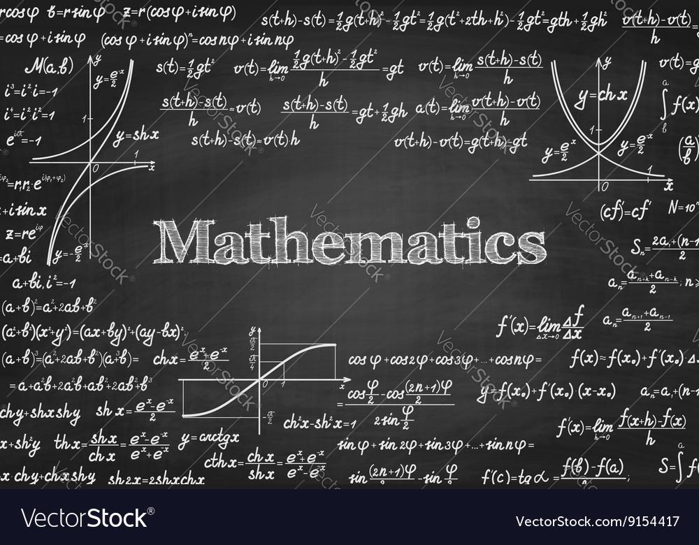 Mathematical seamless pattern on blackboard vector image