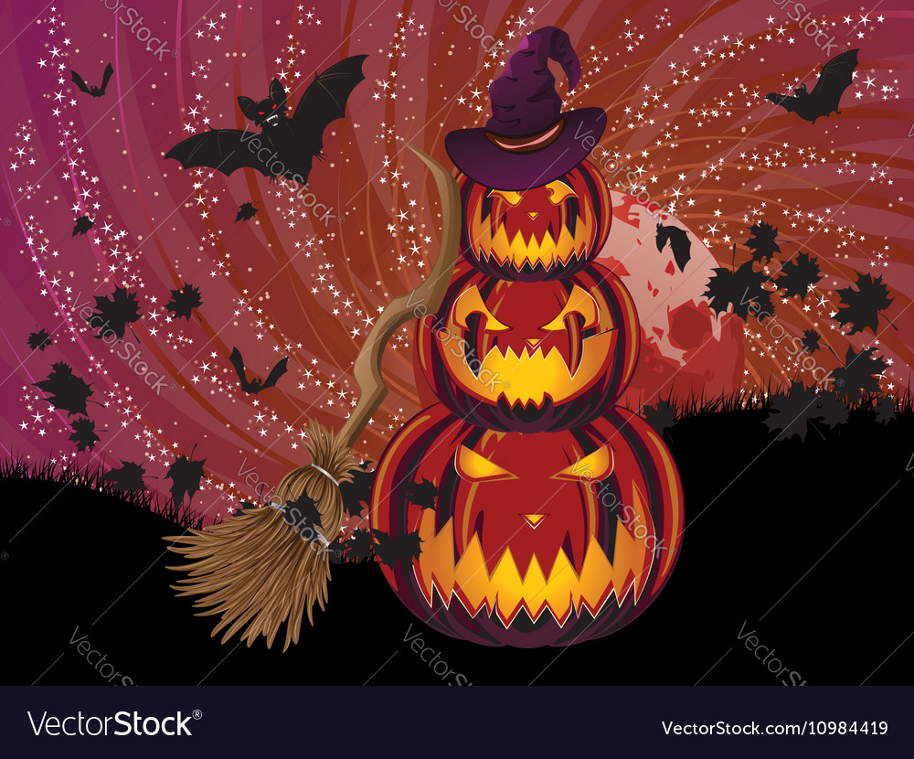 Pumpkins and Red Moon7 vector image