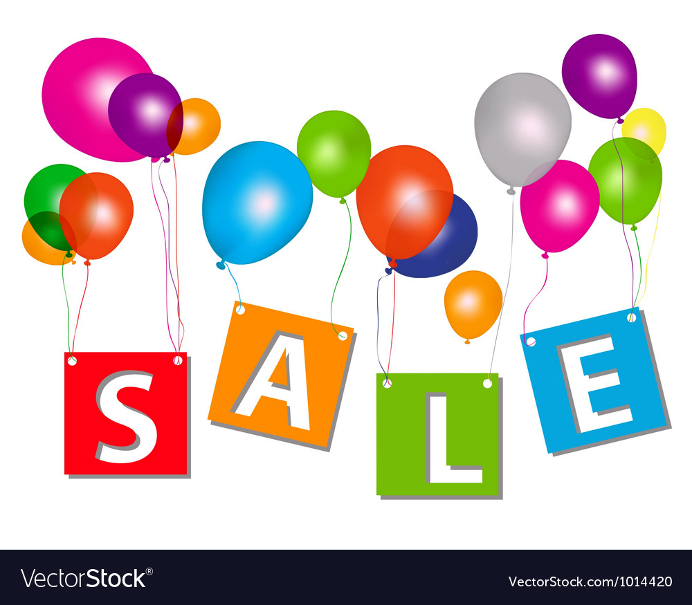 Balloons with sale letters  Concept of discount Vector Image