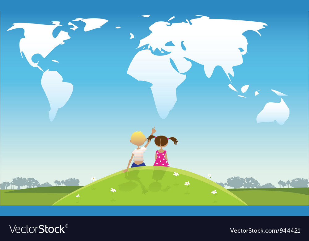 Kids looking at clouds vector image