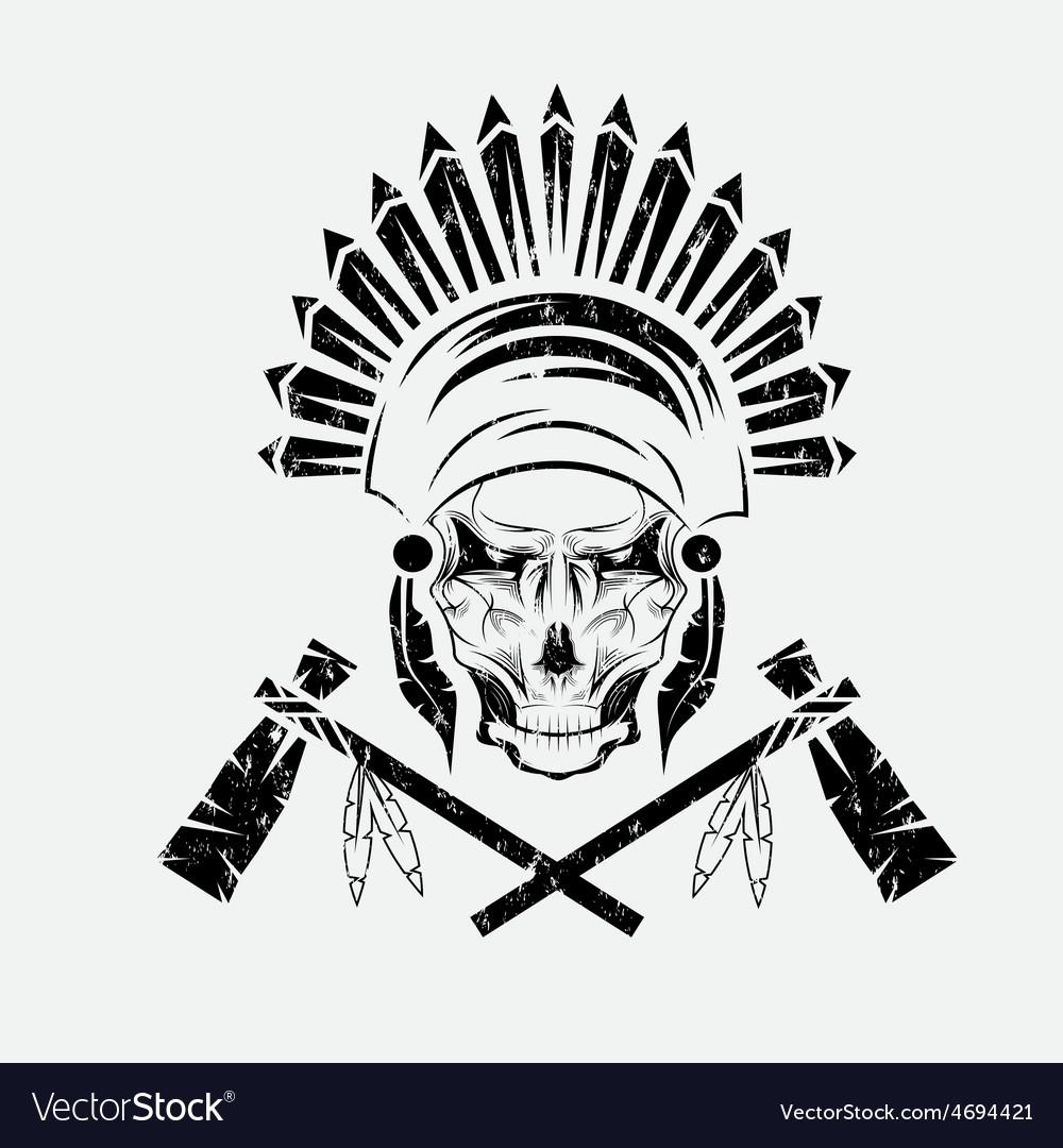 Native american chief skull in tribal headdress vector image buycottarizona Images