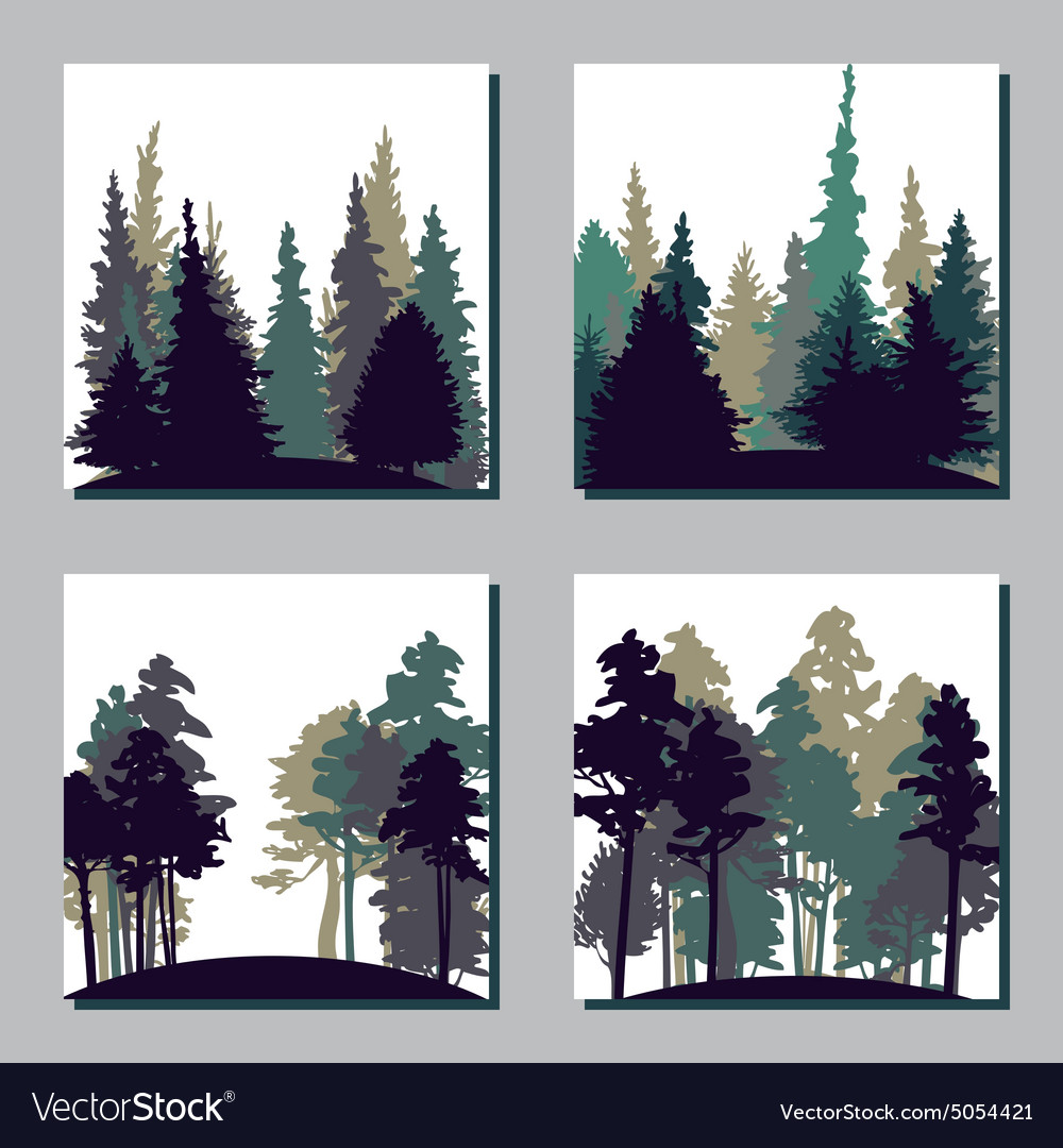 Set of different landscapes with trees vector image