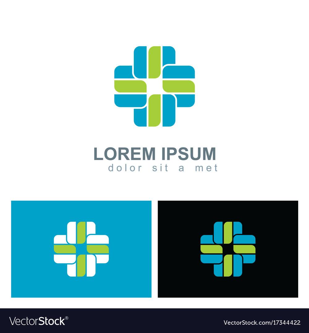 Shape cross plus hospital logo vector image