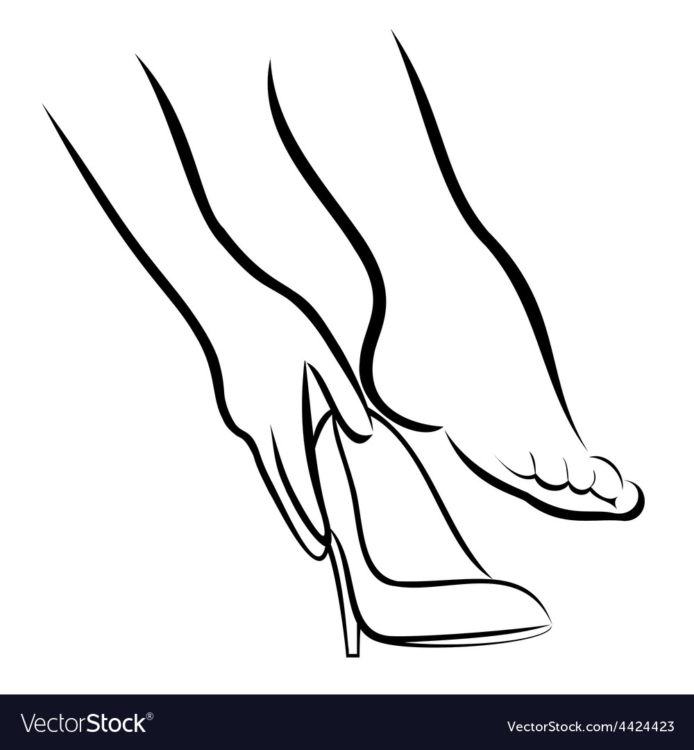The Woman puts shoes 2 vector image