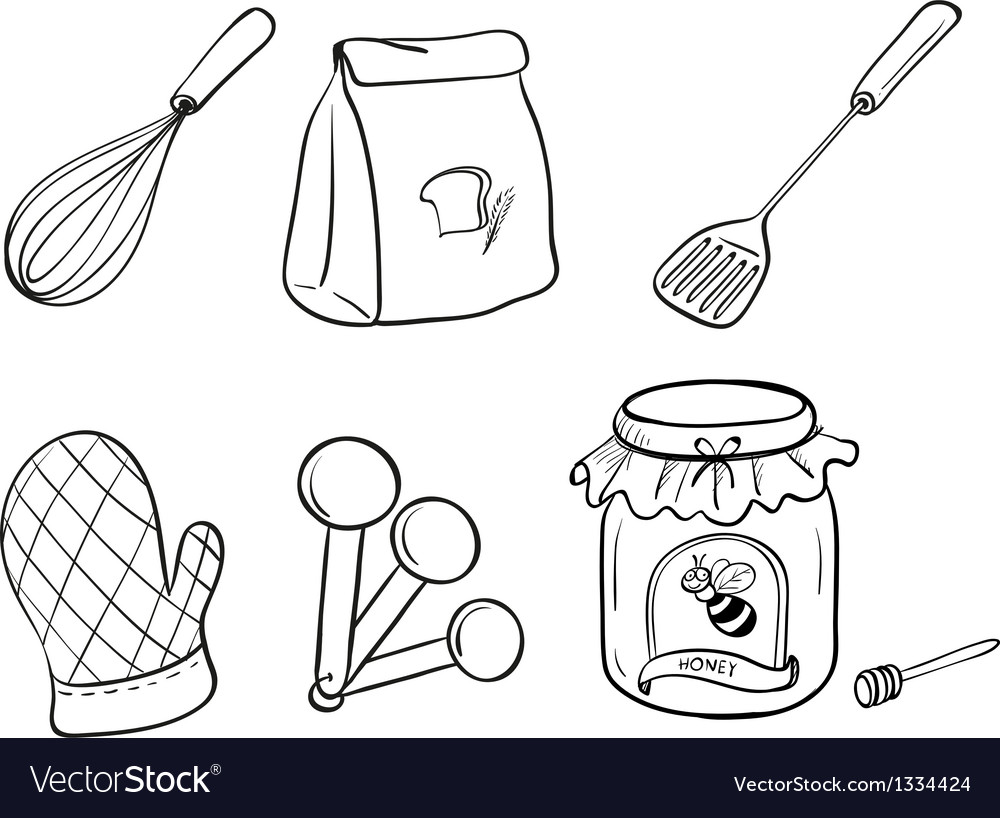 A Doodle Set Of Kitchen Utensils Baking Powder And Vector Image