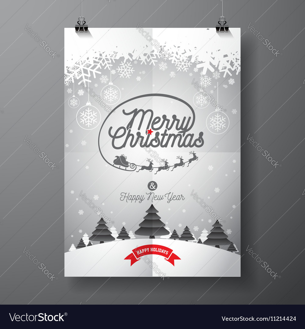 Merry Christmas design and snowflakes vector image