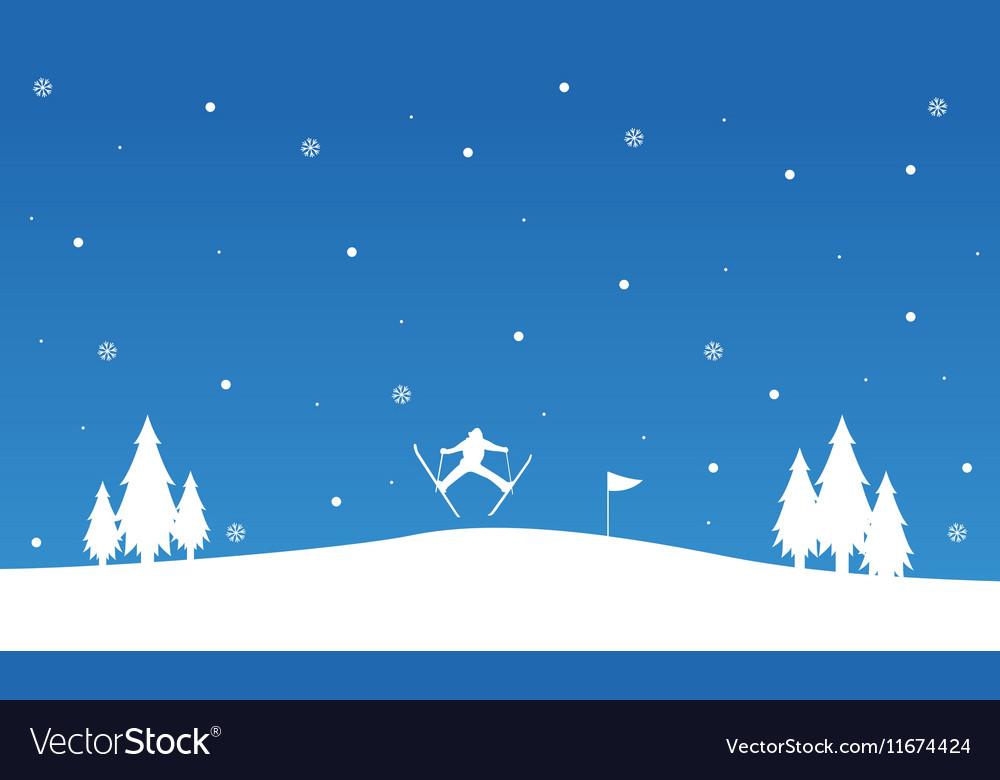 Silhouette of people ski landscape winter vector image