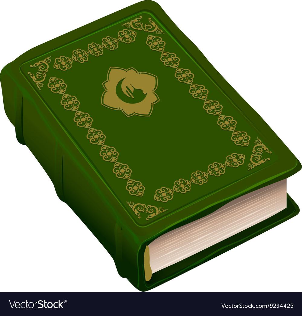 Green book Koran Symbol of religion Islam vector image