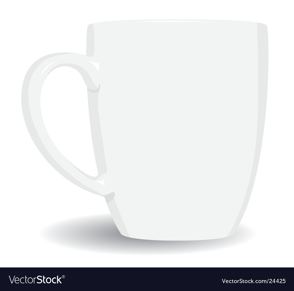 White mug on white background vector image