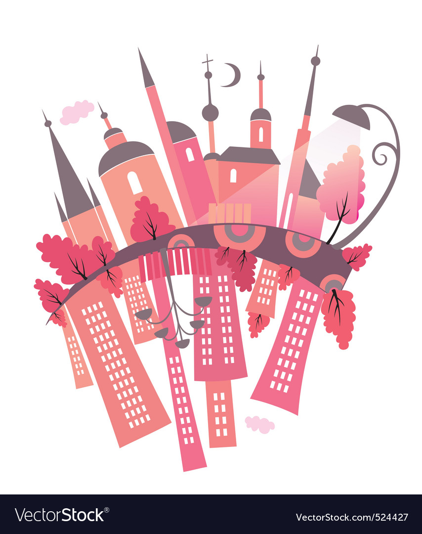 Ancient and modern city vector image
