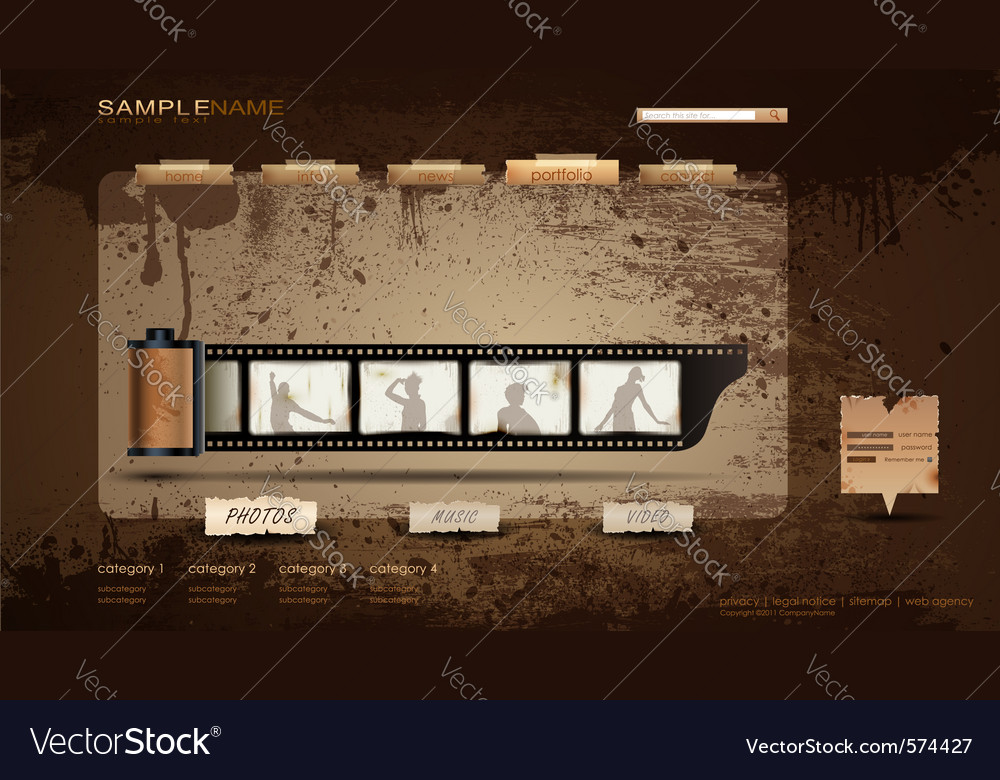 Vintage portfolio website vector image