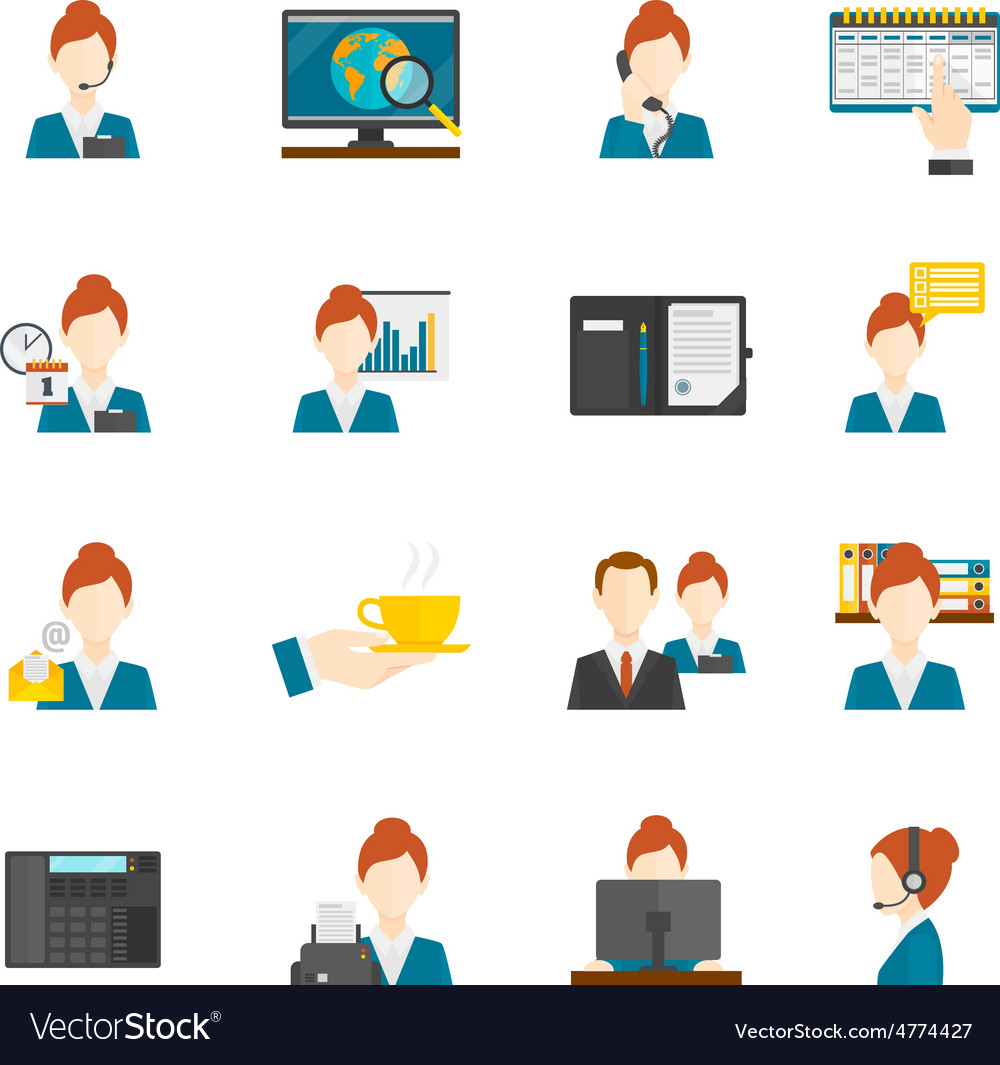 Personal Assistant Flat Icons vector image