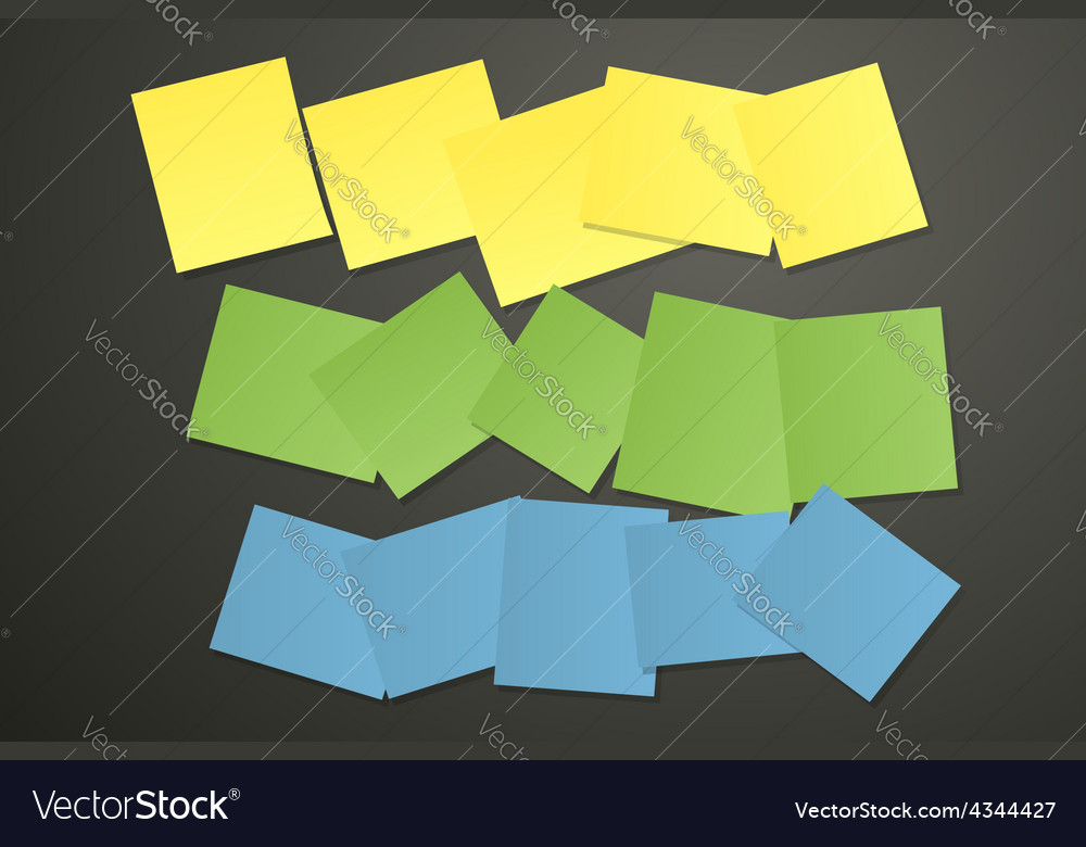 Sticky papers on black vector image