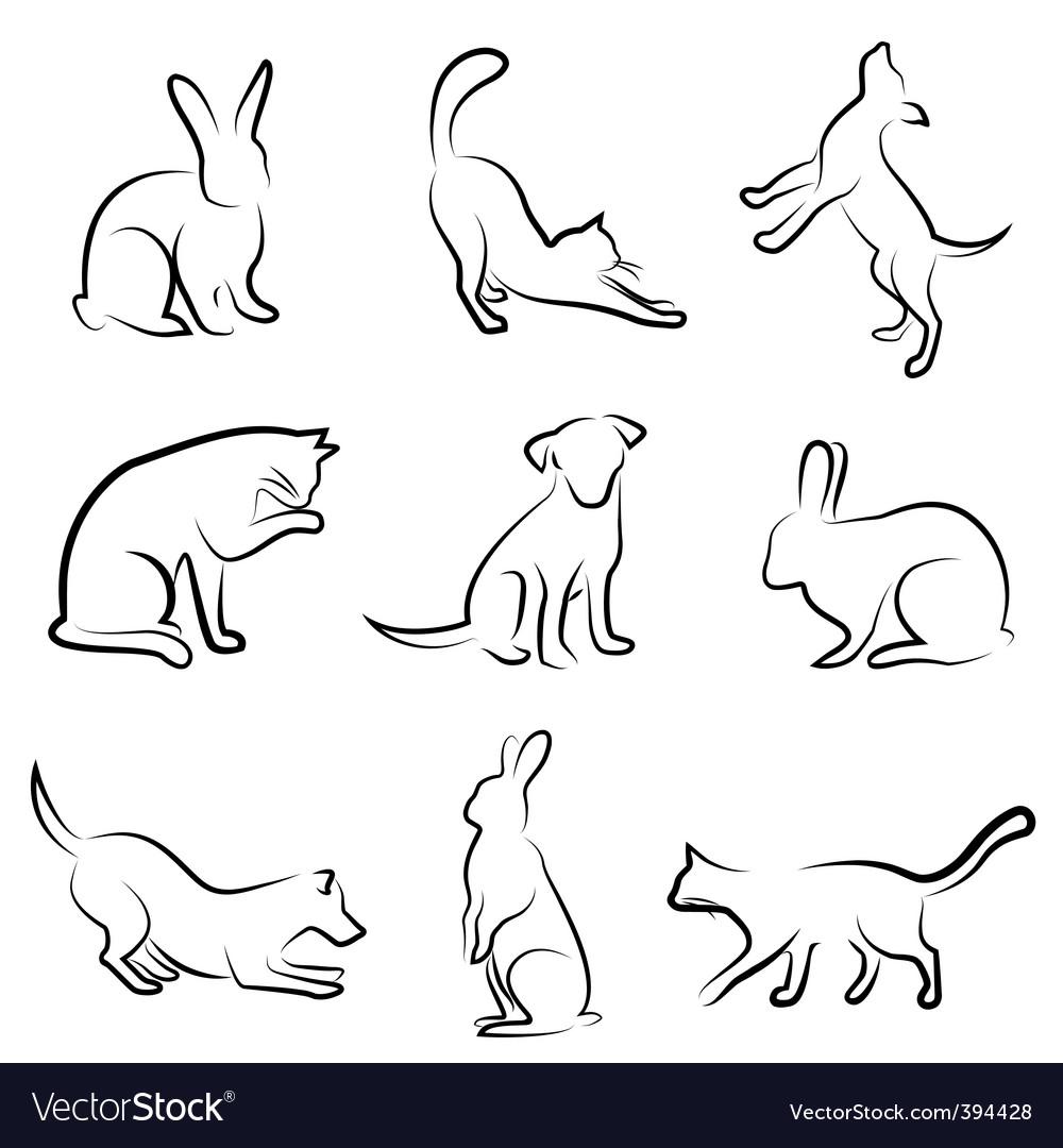 Dog cat rabbit animal drawin vector image