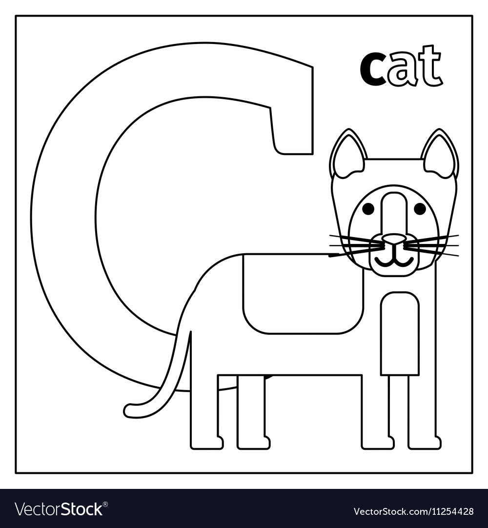 Cat letter C coloring page Royalty Free Vector Image