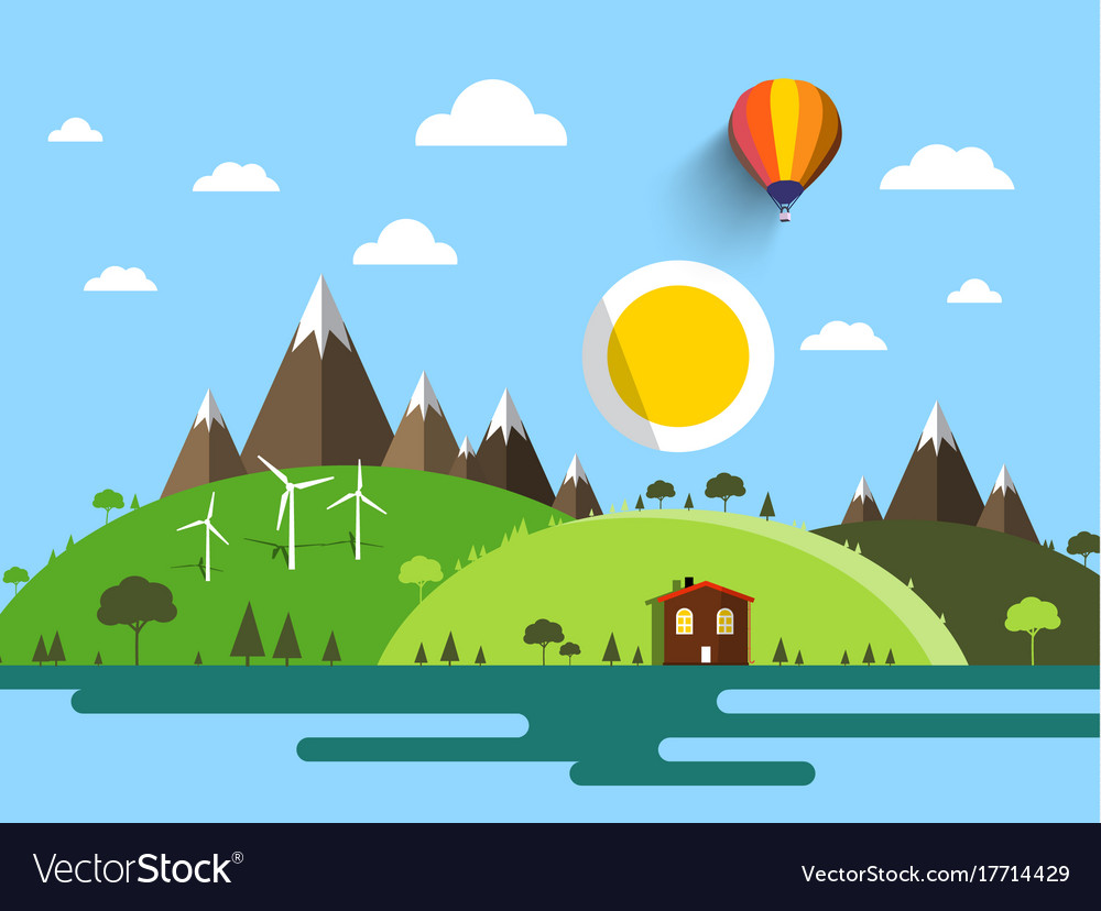 Flat design landscape with house hills mountains vector image