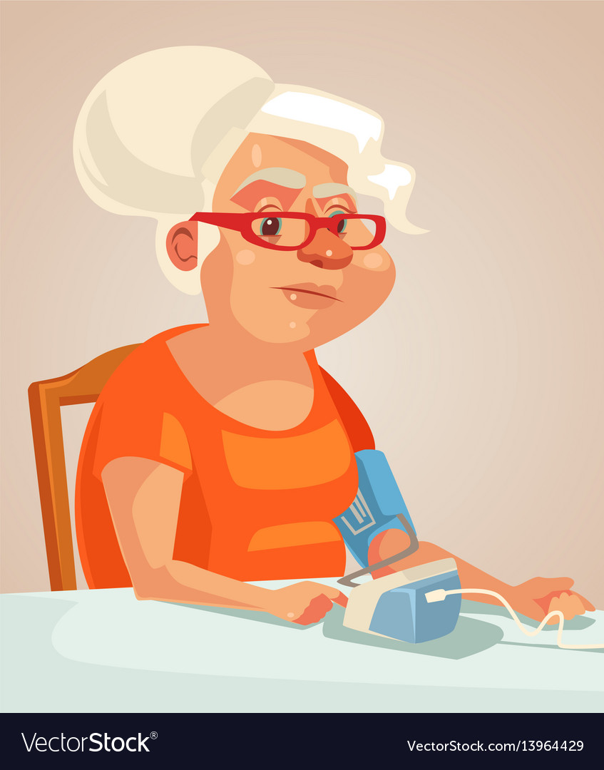 Grandmother character measuring blood pressure vector image