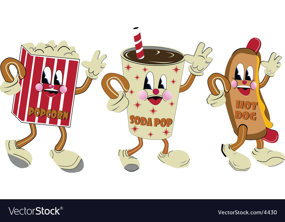 Nostalgic hotdog soda pop popcorn vector image