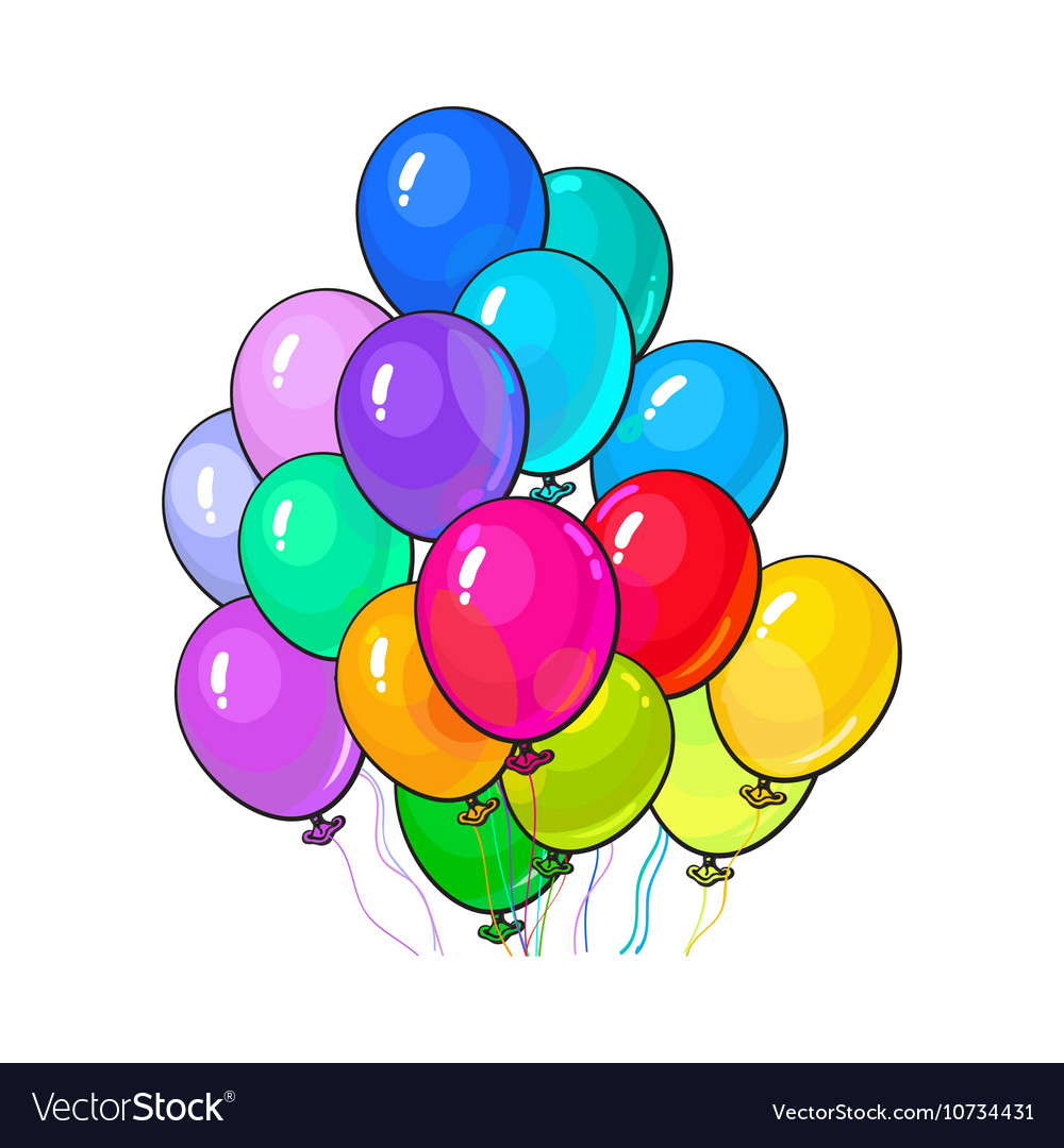 Bunch of three bright and colorful balloons vector image