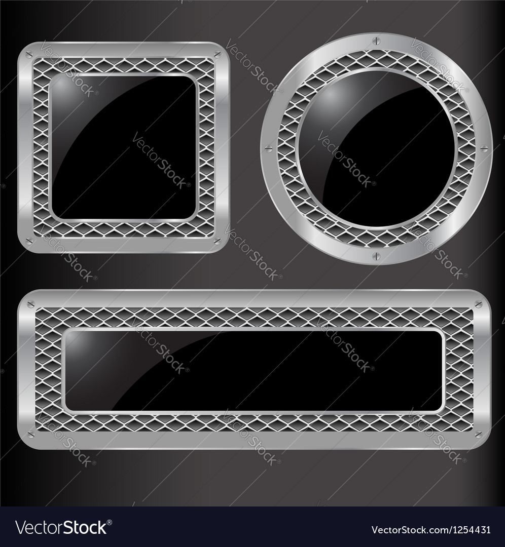 Set of abstract metal background vector image