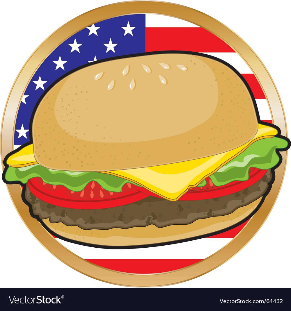 Hamburger American flag vector image