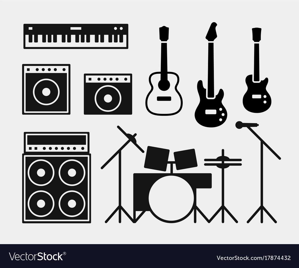 Music rock band instruments set vector image