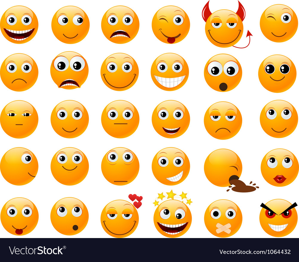 Set of orange smiles vector image