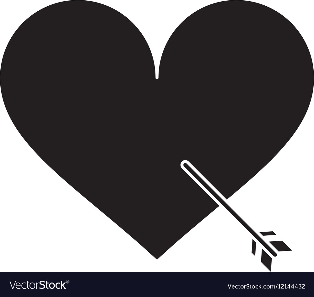 Silhouette heart with arrow love symbol vector image