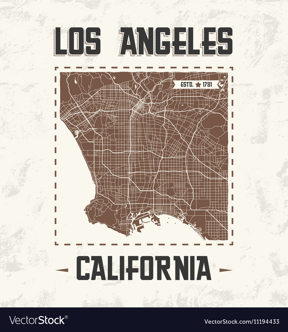 Los Angeles Vintage T Shirt Design With City Map Vector Image - Los angeles map vector
