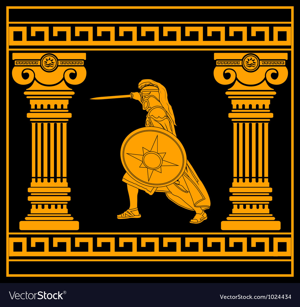 Fantasy warrior with with columns fourth variant vector image