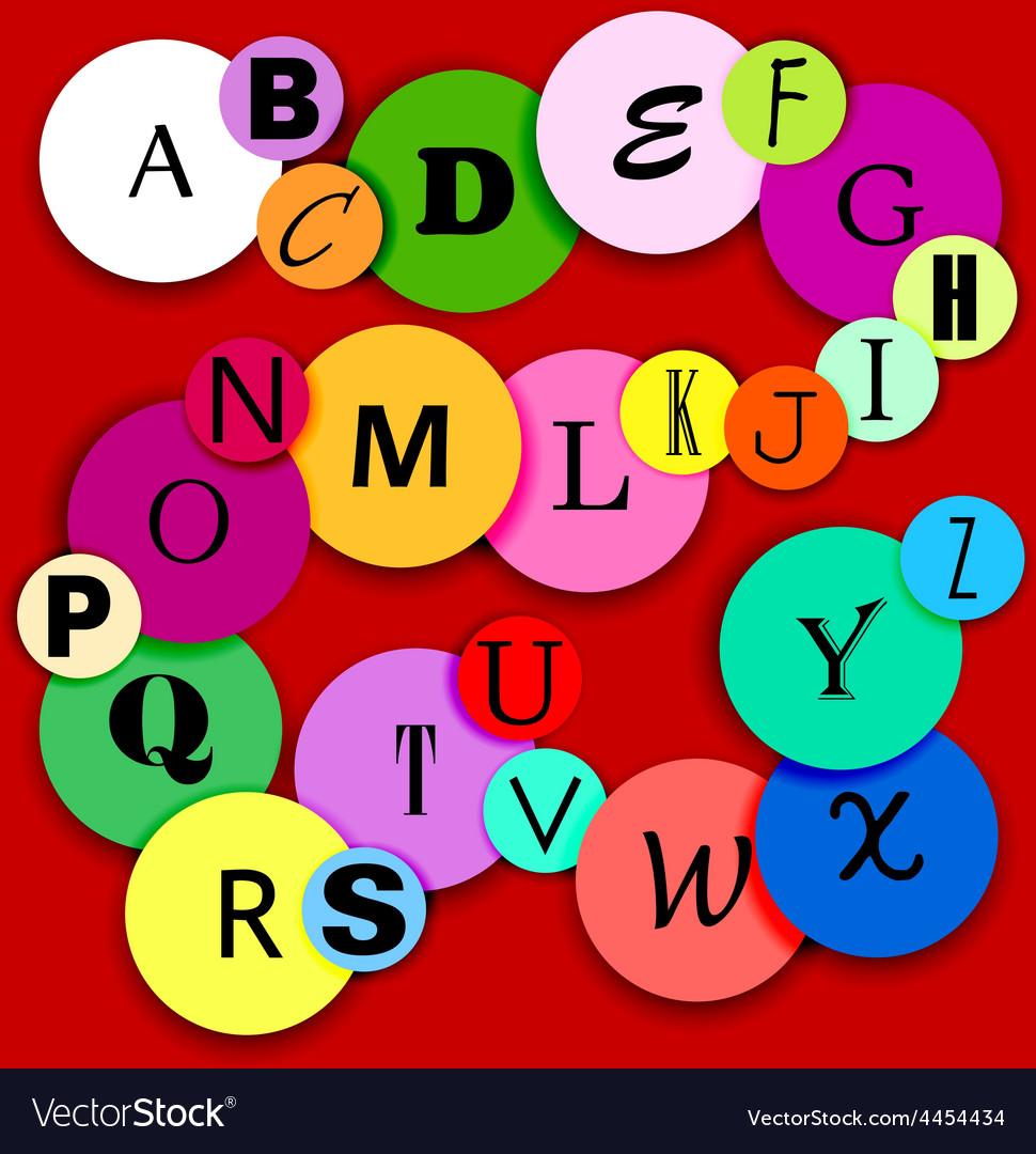 Fun alphabat on multicolor circles-2 vector image