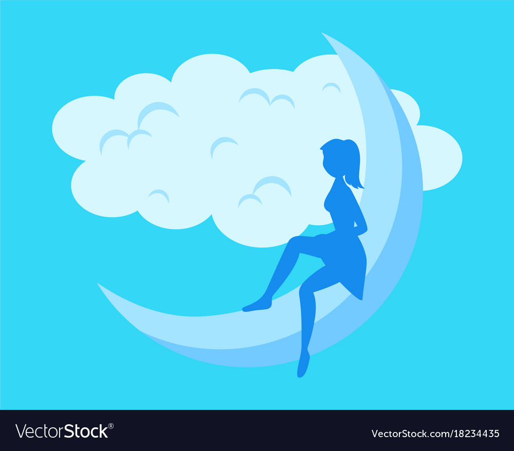Moon nature background with girl silhouette vector image