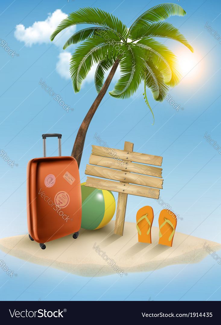 Vacation background Beach with palm tree suitcase vector image