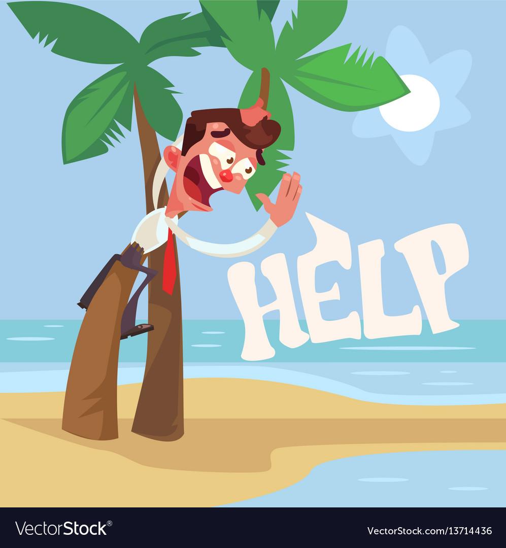 Businessman character lost desert island vector image