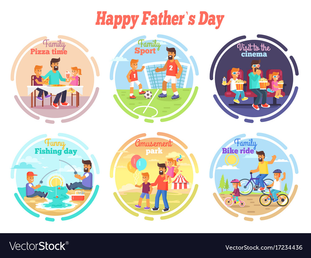 Happy fathers day celebration set of vector image