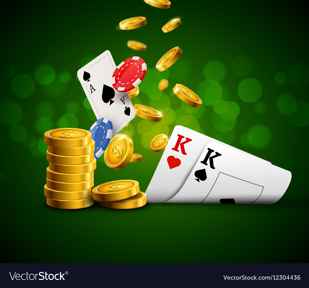 Poker chips casino green poster Gamble cards and vector image