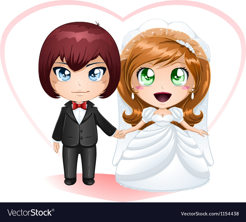 Bride And Groom Getting Married 2 vector image