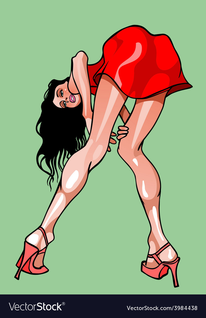 Caricature cartoon girl in a red dress vector image