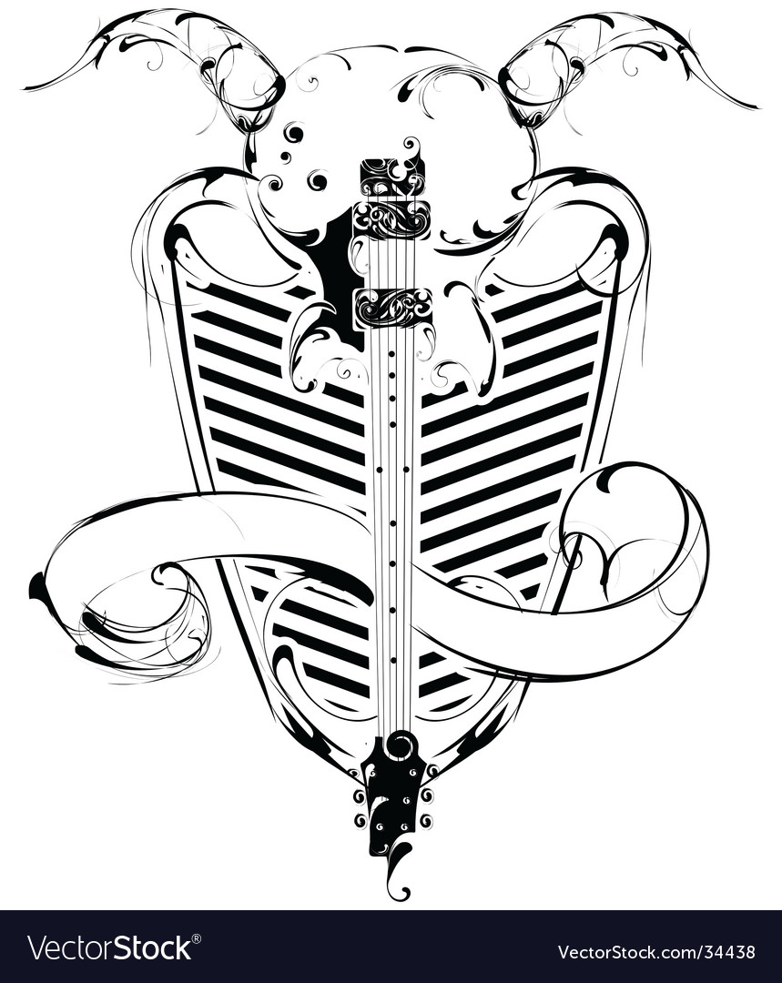 Guitar and shield vector image